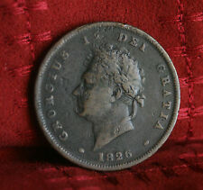 1826 Great Britain One Penny Copper World Coin Seated UK England Trident Rare