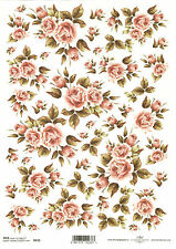 Rice Paper for Decoupage Scrapbooking Vintage Pink Roses A4 DFTA4105