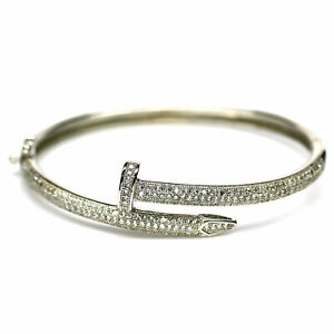 """AAA WHITE CUBIC ZIRCONIA BANGLE CROSS 2"""" X 2.25 """" 925 STERLING SILVER"""