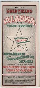 RARE Map Brochure Gold Fields Alaska 1901 North American Transportation Steamers