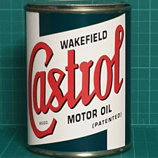 VINTAGE REPLICA CASTROL MOTOR OIL TIN CAN REPRODUCTION TIN CANS DISPLAY PROPS