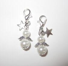 Schutzengel 25 Stück mit STERN weiß 3,2cm Perlen Engel Hochzeit Taufe Anhänger