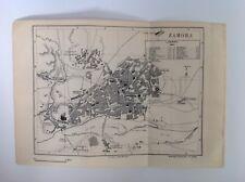 Zamora, plan de calle, España, 1892 antiguo mapa, Murray's Original