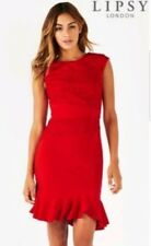 BNWT Lipsy Size 12  Lace Insert  Red Bodycon Dress, Flute hem, New