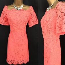 OASIS Dress Size 12 Coral Lace Races Holiday Wedding Occasion BNWT RRP £60 A34