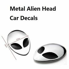 2Pcs Alien Head Full Metal 3D Alienware Auto Logo Sticker Badge Emblem Car Decal