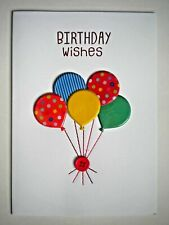 "PAPER MAGIC ~ EMBELLISHED ""BIRTHDAY WISHES"" BALLOONS GREETING CARD + ENVELOPE"