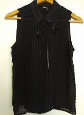 Asos Sleeveless Black Collar Shirt Blouse Top Size 8