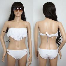 Women Hot Sexy White Tassel Swimsuit Swimwear Padded Bikini T18