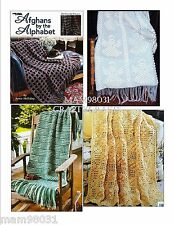 Crochet Pattern Book AFGHANS By The ALPHABET ~ 26 Designs