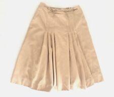 Celine Paris Womens Pleated Skirt Size 44 Brown 100% Wool Lined A-Line Full N5