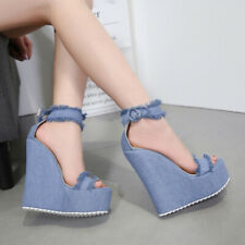 Sexy Ladies Platform High Wedge Heels Peep Toe Sandals Denim Canves Ankle Strap