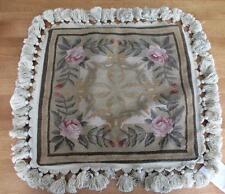 """NWT $85 Wool Woven Floral Tapestry Beige Velvet Cushion Cover 16"""" x 16"""" Roses"""