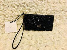 NWT Kate Spade iPhone Wristlet Wallet Laurel Way Glitter Black Sparkle $119