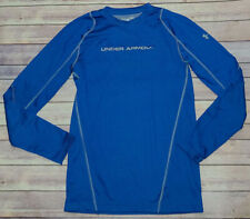 Mens UNDER ARMOUR INFRARED GRID FITTED RUNNING LS BLUE SHIRT ColdGear Sz.S