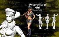 1/16 Resin Figure Model Kit German Unteroffizier Sexy Girl Tank WWII Unpainted