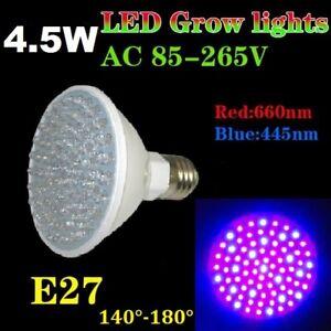 4.5W 80 Led Grow Pflanzen Lampe Plant Light Wuchs Blüte 140° Full Spectrum E27