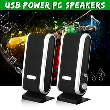 2X Portable USB Multimedia Stereo Speakers System For PC Desktop Computer Black