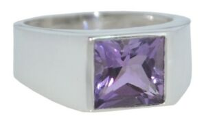 Amethyst Signet Ring Genuine stone Mens Gents Sterling 925 SILVER Sizes N to Z5