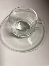 Set of 4 Vintage New Hot Or Cold Espresso Cups&Saucers Duralex Glassware France