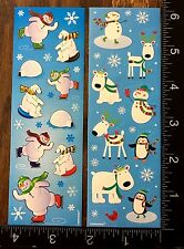 CHRISTMAS STICKERS SNOW MAN BEAR PENGUIN, TWO LITTLE SHEETS OF STICKERS #WINTER7
