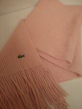 Lacoste Wool and Angora Pink Fringe Scarf Soft Crocodile Logo
