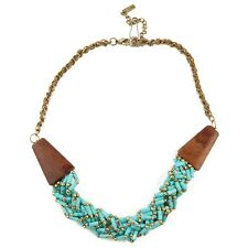 Obey GYPSY QUEEN Faux Turquoise Gold Braided Bead Wood Chain Wrapped Necklace