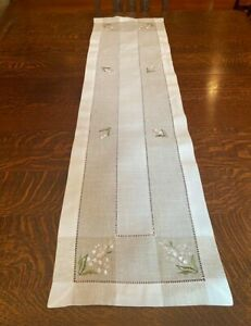Charles Gallen 54 x 14 Table Runner Embroidery Lily of the Valley New Flowers