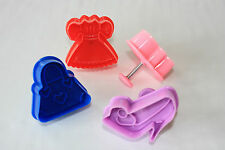 Plunger Cutters in Dress Up Design.  Set of 4, Pie Crusts, Sugarcraft, Fondant
