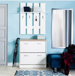 HALLWAY FURNITURE SET, WALL COAT HANGER AND SHOE CABINET, OFF WHITE, SMART