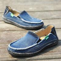 Men Canvas Espadrille Moccasins Driving Boat Shoes Casual Slip On Denim Loafers