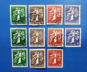 Switzerland Stamps, Scott 256-266 Short Set Used And Hinged