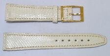 bracelet montre lézard véritable blanc 20mm