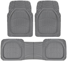 Sharper Image Rubber Floor Mats Gray Heavy Duty Deep Channels for Car 3pc Set