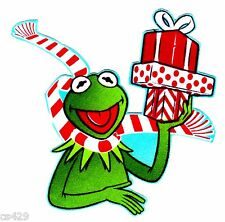 "4"" KERMIT THE FROG MUPPETS CHRISTMAS HOLIDAY FABRIC APPLIQUE IRON ON"
