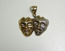 DRAMA MASK COMEDY & TRAGEDY PENDANT IN 10K YELLOW GOLD 183-F