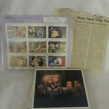 Disneys Snow White & The 7 Dwarfs Postage Stamps With News Clipping & Xtra Stamp