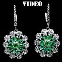 NATURAL EMERALD & LAB DIAMOND EARRINGS WHITE GOLD/925 STERLING SILVER