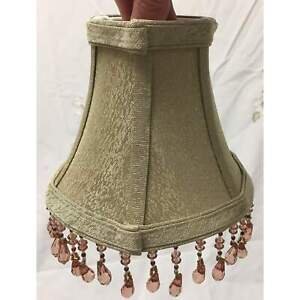 "Vintage Fabric Tapered Clip-on Bell Lampshade with Pink Crystals | Small | 6"" Ta"