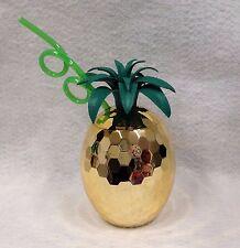 Pineapple Disco Cup Gold & Straw Hawaiian Luau Party Novelty Birthday Gift Favor
