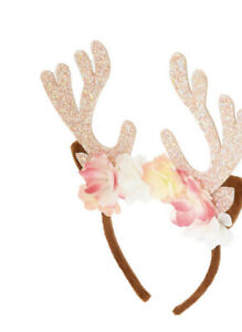 Claire's Glitter Deer Antlers Headband in Brown New with Tags