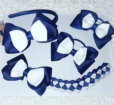 School Hair Bow Sets (made to order, any colour)