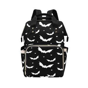 Black White Bat Creepy Cute Baby Changing Diaper Backpack Rucksack Bag Goth