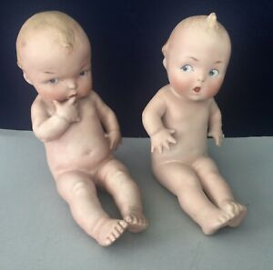 TWO Antique Gebruder Heubach Bisque Piano Babies  Germany