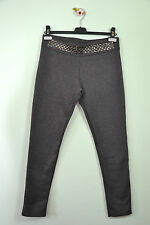 Made in Italy Vtg 90s Retro Ladies Grey Studded Heavy Leggings sz XL Q71