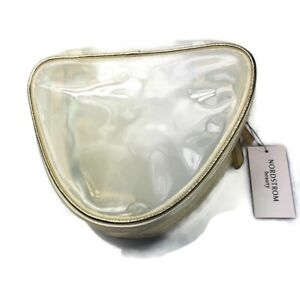 NWT Nordstrom Beauty Cosmetics Makeup Case Zippered Clear Gold New With Tags