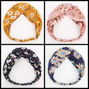 4 PCS Floral Twist Knot Headband Elastic Wrap Turban Hair Band Hairband Sports
