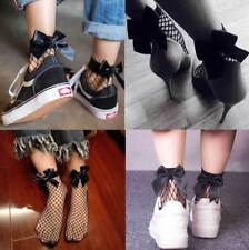 Fishnet BOW SOCKS Black Mesh Lace Ruffle Stockings Short Ankle Women Ladie Soft