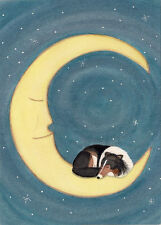 Tri-color Shetland Sheepdog (Sheltie) naps on moon / Lynch folk art print