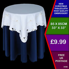 Embroidered Square Table cloth Cover Christmas White  Gold Cutwork Festive X160